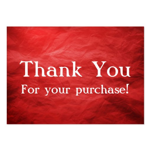 Red Thank You For your Purchase Cards Business Cards