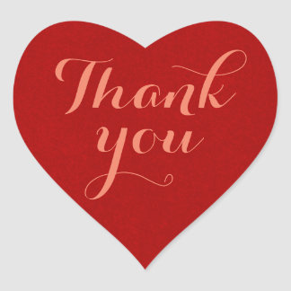 Red, Thank You, Heart Heart Sticker