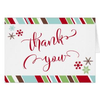 Red Thank You, Snowflakes & Diagonal Stripes Card