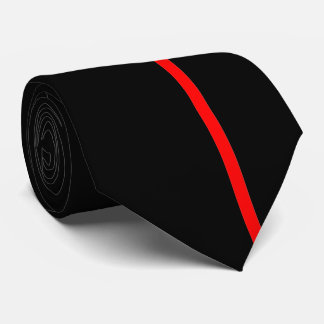 Red Thin Vertical Line on Black Offset Right Tie