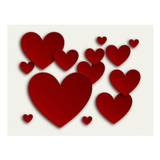 Red Three Dimensional Hearts -Valentine's Day Card Postcard