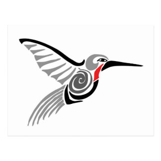 red throat-ed gray hummingbird postcard