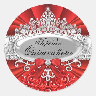 Red Tiara & Damask Quinceanera Sticker