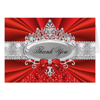 Red Tiara & Damask Thank You Card