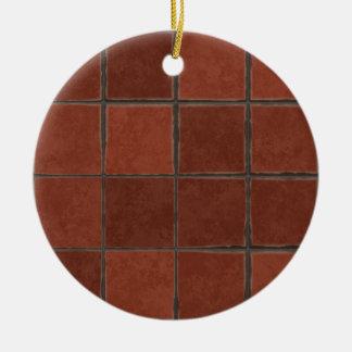 Red Tile Round Ceramic Ornament