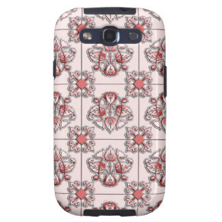 Red tiled victorian pattern galaxy SIII case