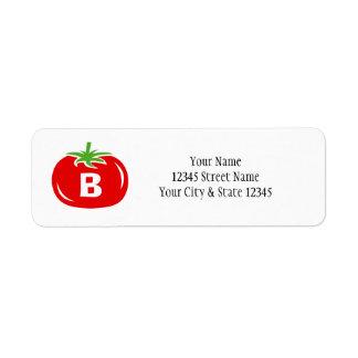Red tomato custom monogram return address labels