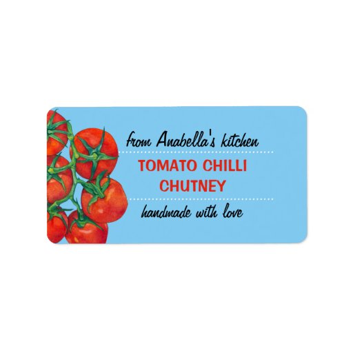 Red Tomatoes blue Kitchen Preserves Label