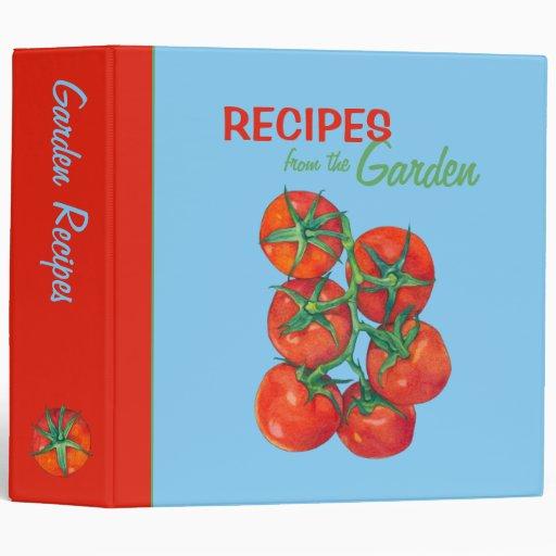 Red Tomatoes blue Recipe Binder