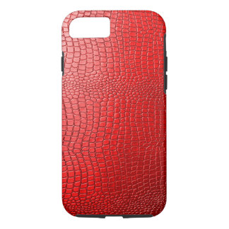 Red Tones Faux Snakeskin Leather Pattern Look iPhone 8/7 Case