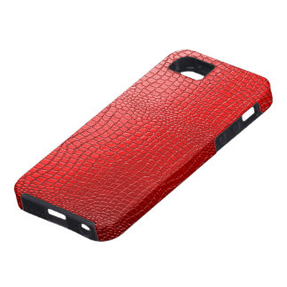 Red Tones Snakeskin Leather Pattern Look iPhone 5 Case