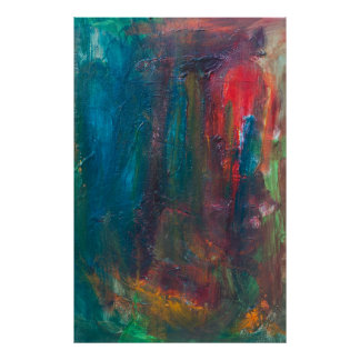 Red Tongue of the Tiger Sun Abstract Art Poster