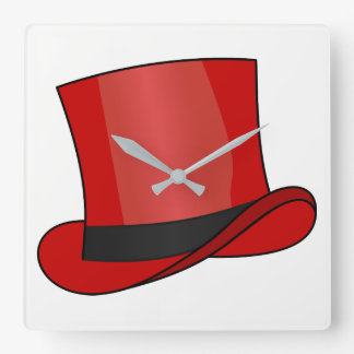 Red Top Hat Square Wall Clock