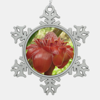 Red Torch Ginger Tropical Flower Photography Snowflake Pewter Christmas Ornament