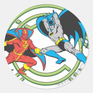 Red Tornado + Batman Round Sticker