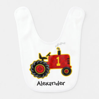 Red Tractor 1st Birthday Bib