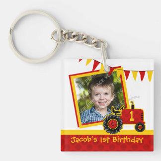 Red Tractor 1st Birthday Photo Acrylic Key Chains