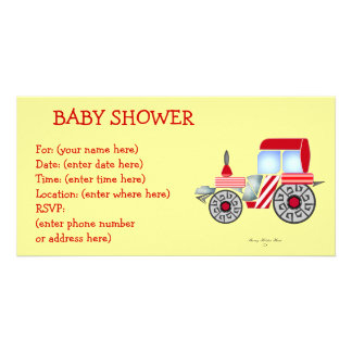 Red Tractor Baby Shower Custom Photo Card