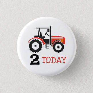 Red Tractor Birthday Age Badge Button
