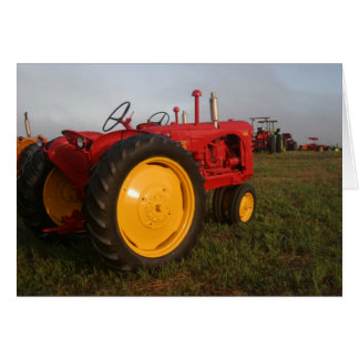 Red Tractor in the Morning Greeting Card
