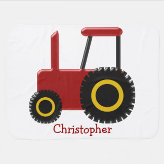 Red Tractor Just Add Name Baby Blanket