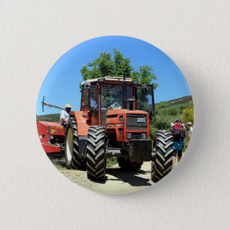 Red Tractor on El Camino, Spain 2 Inch Round Button