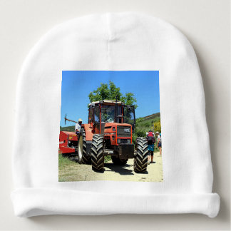 Red Tractor on El Camino, Spain Baby Beanie