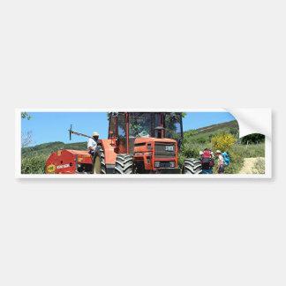 Red Tractor on El Camino, Spain Bumper Sticker