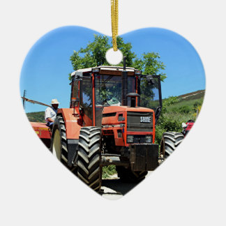 Red Tractor on El Camino, Spain Ceramic Ornament