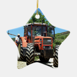 Red Tractor on El Camino, Spain Ceramic Ornament