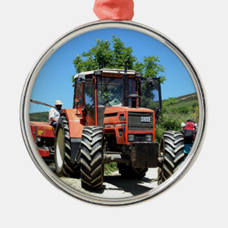 Red Tractor on El Camino, Spain Metal Ornament