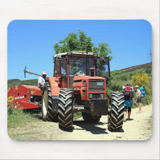 Red Tractor on El Camino, Spain Mouse Pad
