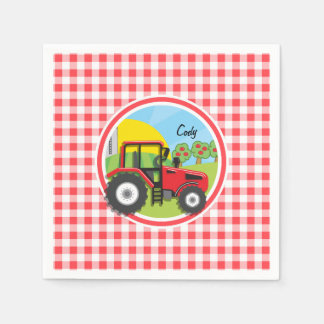 Red Tractor on Red and White Gingham Paper Napkins