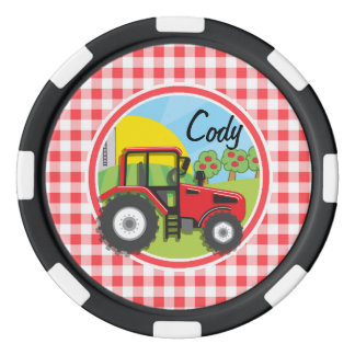Red Tractor on Red and White Gingham Set Of Poker Chips