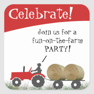 Red Tractor Party Envelope Seal