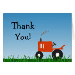 Red Tractor Party Thank You Note Greeting Card
