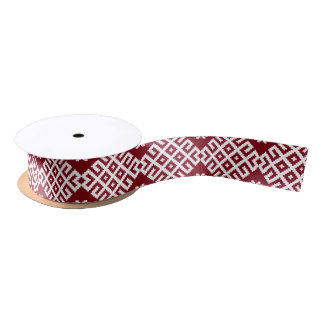 Red traditional Baltic Latvian Pattern Design Satin Ribbon