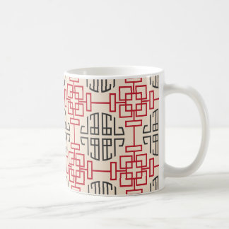 Red Traditional Geometric Chinese Decorative Patte Coffee Mug