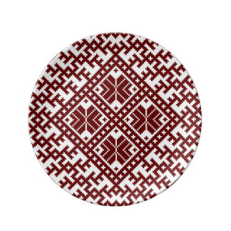 Red traditional Nordic Design Plate