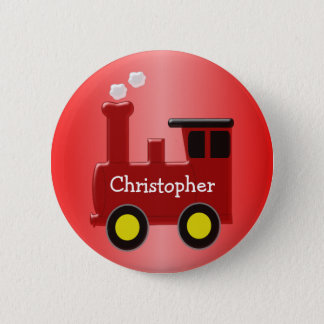 Red Train Just Add Name 2 Inch Round Button