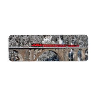 Red Train Pine Snow Covered Mountains Switzerland Return Address Label