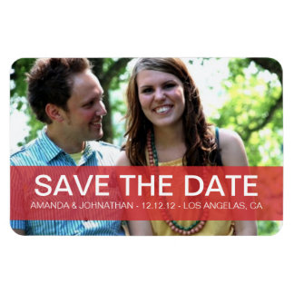 Red Transparent Photo Save The Date Magnet