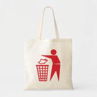 Red Trash Can Sign Tote Bags