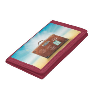 Red Travel Trifold Nylon Wallet