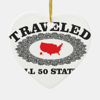 red traveled all states ceramic heart ornament