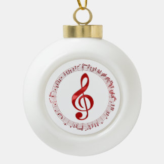 Red Treble Clef In Music Notes Ceramic Ball Christmas Ornament