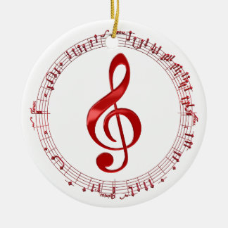 Red Treble Clef In Music Notes Ceramic Ornament