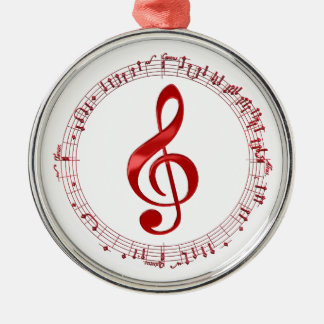 Red Treble Clef In Music Notes Metal Ornament