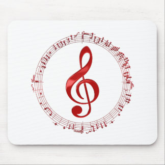 Red Treble Clef In Music Notes Mouse Pad