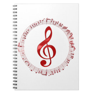 Red Treble Clef In Music Notes Notebooks